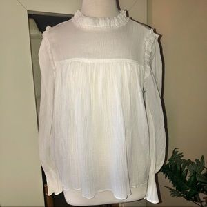 Moon River White Long Sleeve Ruffled Top